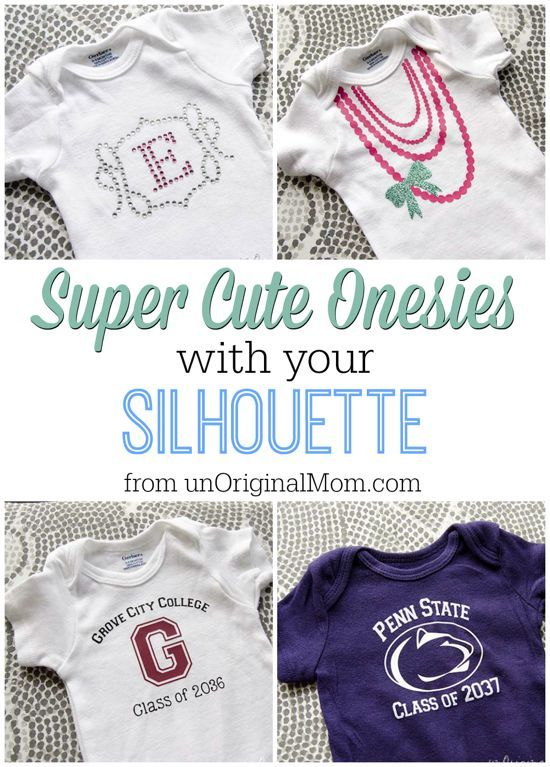 "Super Cute Onesies with your Silhouette! Think baby shower gifts galore – the possibilities are endless. And did we say, ""SUPER"