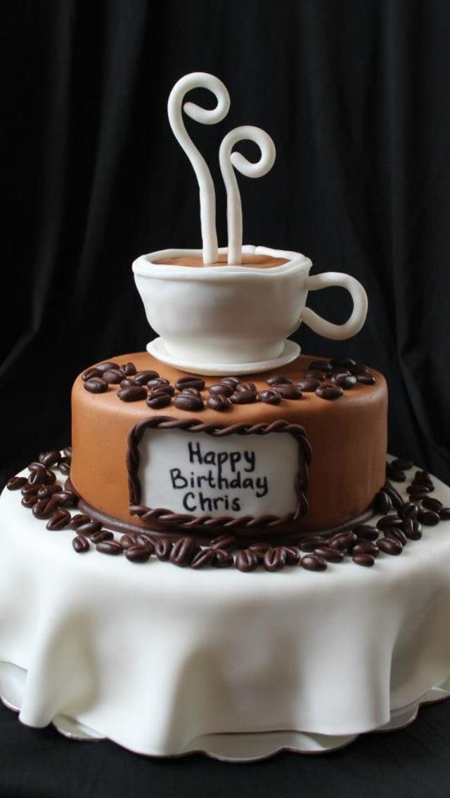 Coffee themed cake Renee's WICKED Good Cakes Like us on