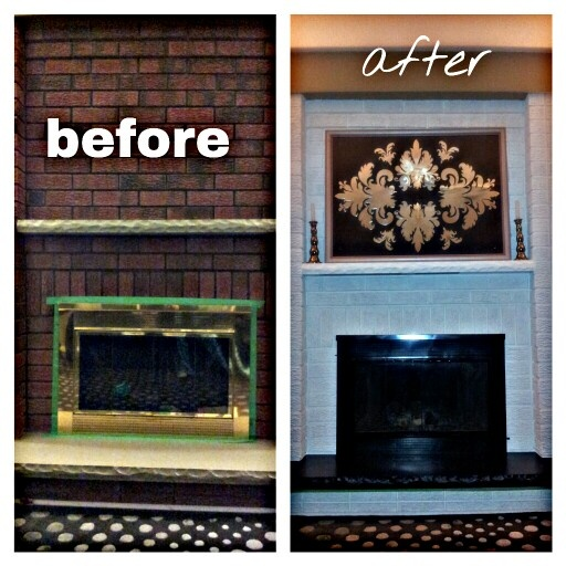 Revamped Brass Old School Fireplace Brick Paint And Fire