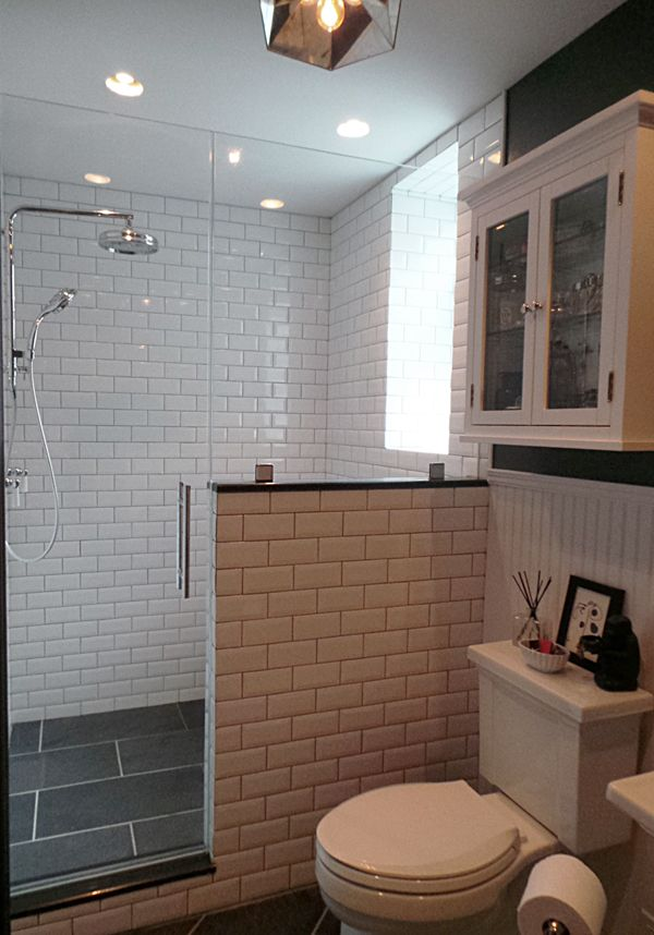 Thermostatic Rain Shower Slate Tiles Beveled Subway