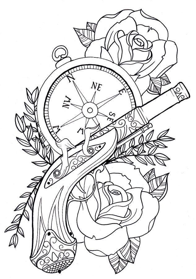 The gun by Unibody on deviantART Tattoo Flash
