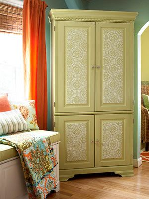 computer armoire makeover – Google Search Love the tin ceiling tile look on the doors