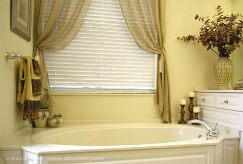 Love The Drapes For Over The Tub Would Add A Sheer Cream Curtain To Cover The Blinds For The