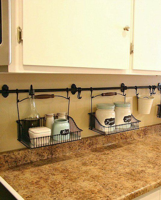 #25. Use your backsplash to store things that would otherwise be taking up valuable counter space! | 29 Sneaky Tips For Small