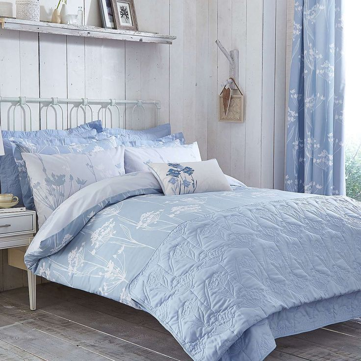 Blue Bryony Thermal Eyelet Curtains Dunelm Bedroom1