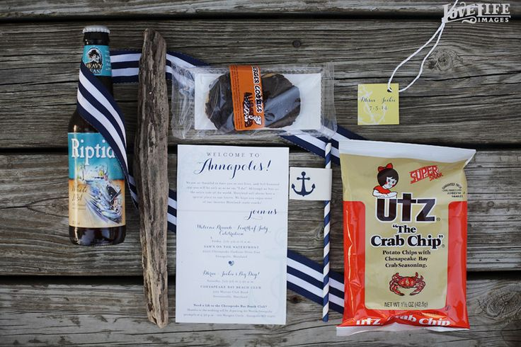 Chesapeake Bay Beach Club Wedding Maryland Themed Welcome Bags Filled With Local Goodies For