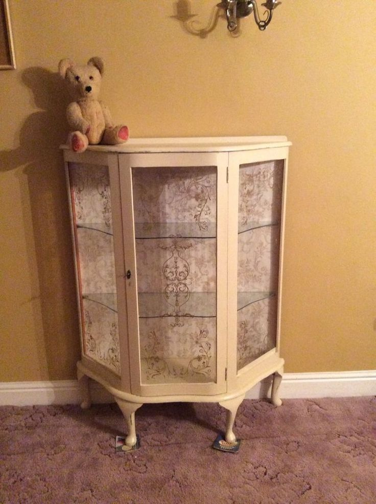 Vintage 1930 S Art Deco Hand Painted Glass Display Cabinet