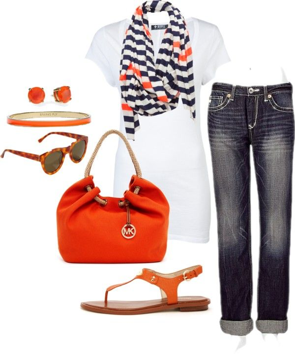 Love the white T with striped scarf, purse and sandals...maybe with short short Khaki shorts or Jean shorts