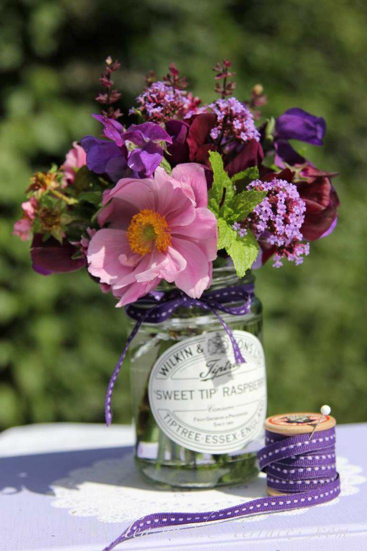 jam jar posies flower arrangements late summer wedding