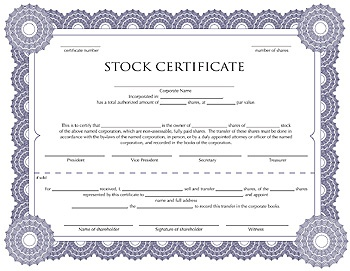 stock template corporate stock share certificate template rocket