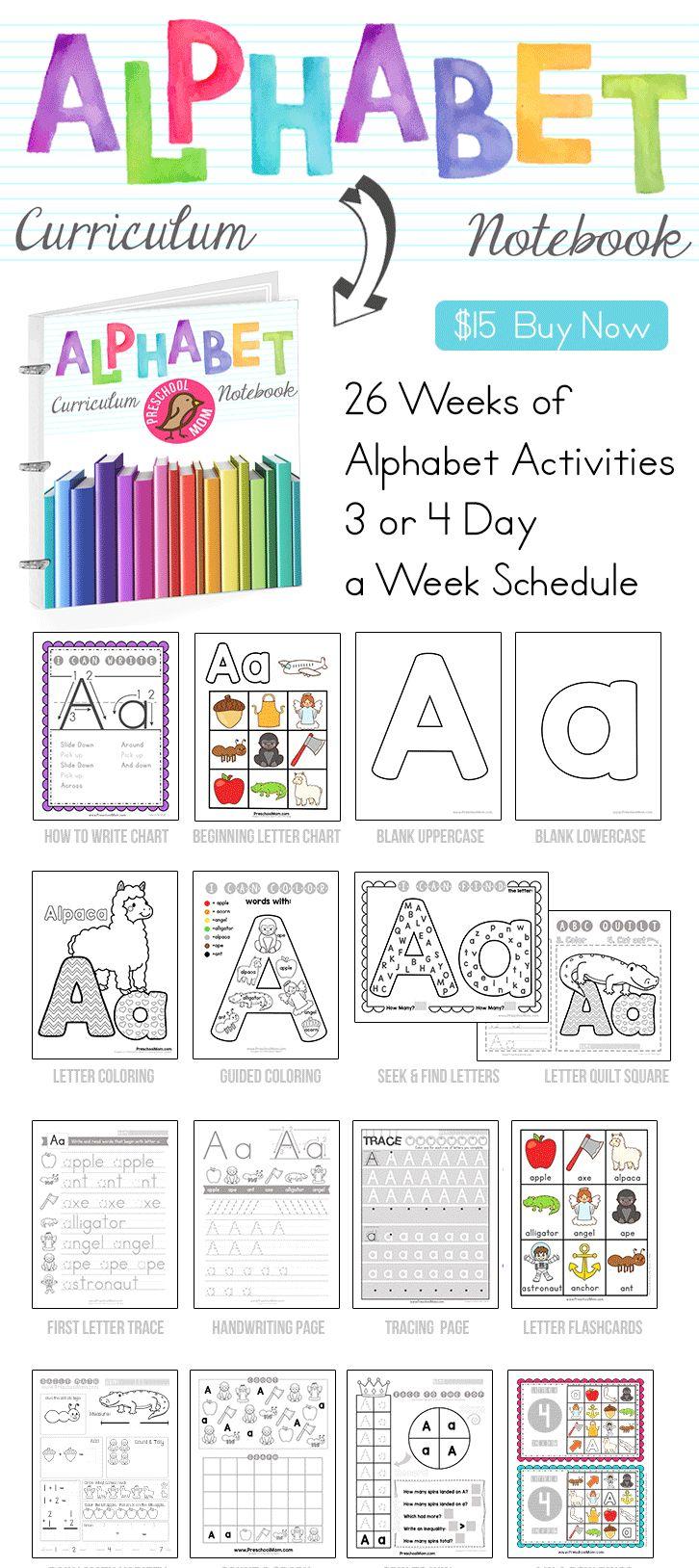 Alphabet Curriculum Notebook Download an Instant Letter