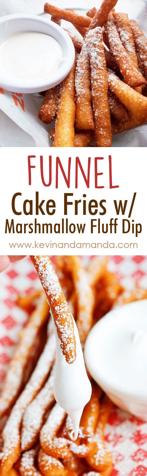OMG these are Funnel Cake FRIES with Marshmallow Fluff Dip!! So fun!! Super easy method, what a great