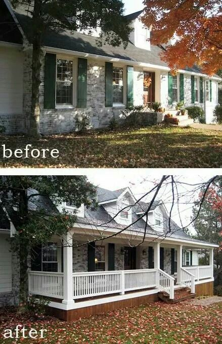 Add Front Porch To Plain One Story Home Porch