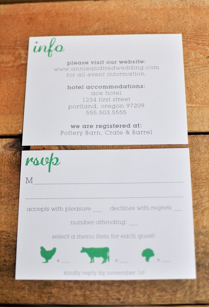 rsvp card wording. cute food choice idea. even if we don't