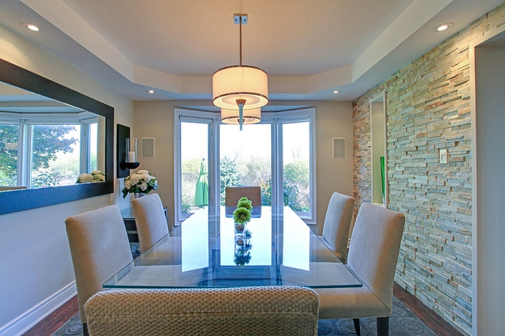 Beautiful Open Concept Dining Room With Slate Stone Accent