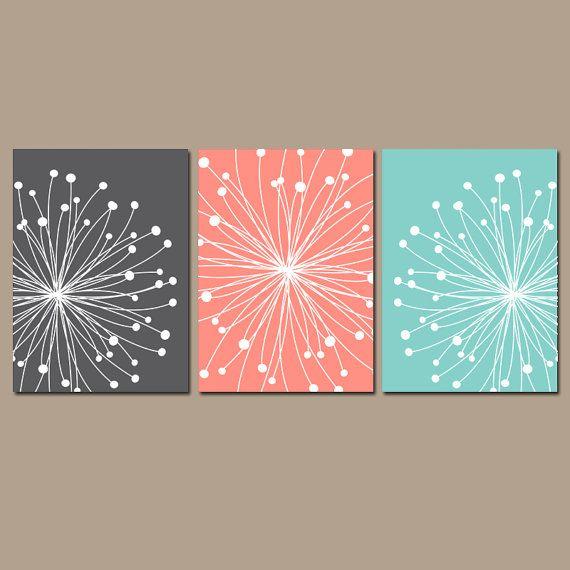 Dandelion Wall Art Canvas Or Prints Gray C Aqua Bedroom Bathroom Artwork Pictures Flower Set Of 3 Home Decor