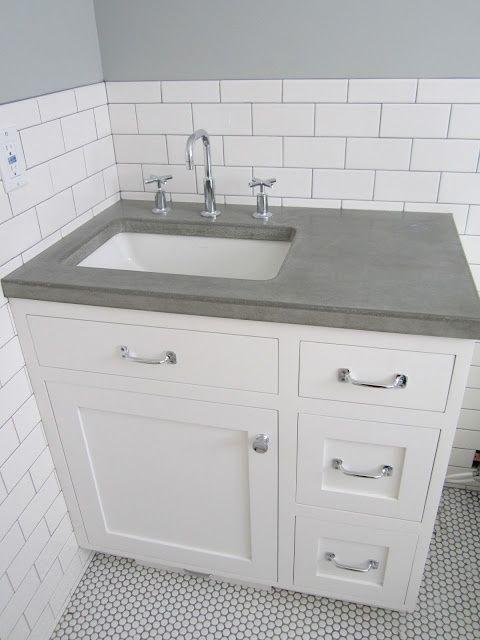 White Subway Tile Wall Concrete Counters White Penny