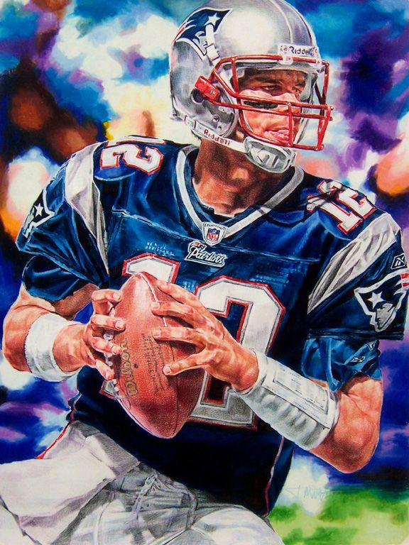 "sports art""Tom Brady"" 18"" x 24"" colored pencil drawing by"