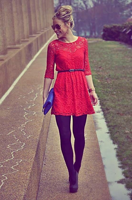 Vestido Rojo Con Medias Negras Ropa Zapatos Y Mas