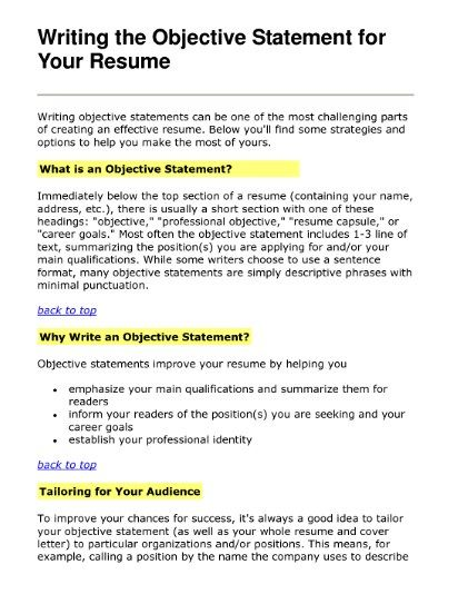 Resume Writing, Objectives, Summaries, or Professional.