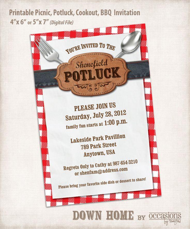 Printable Picnic, Potluck, Cookout, BBQ Invitation