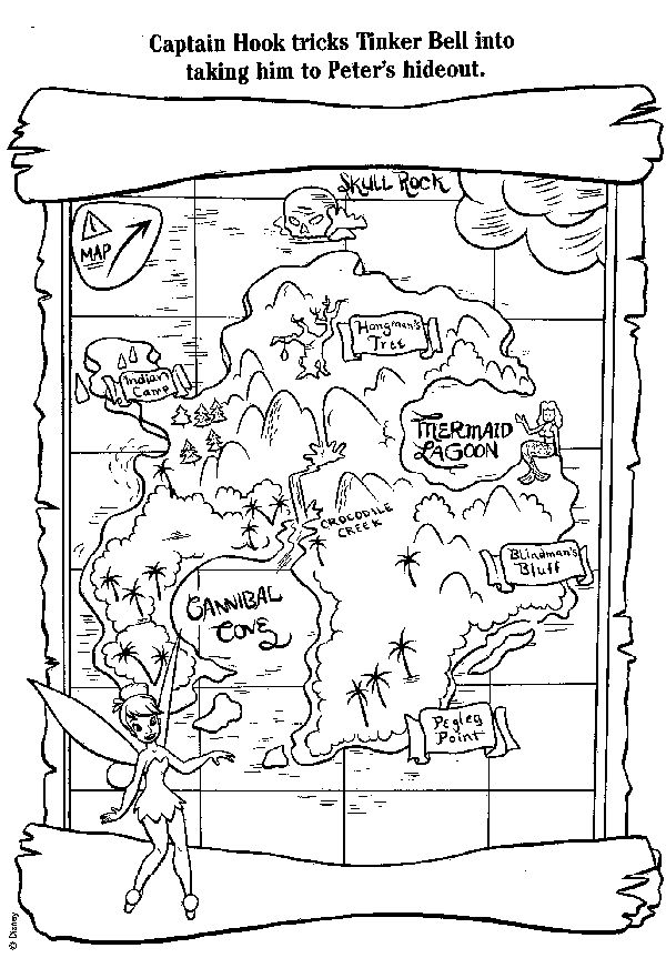 tinkerbell treasure map color it Pinterest Coloring