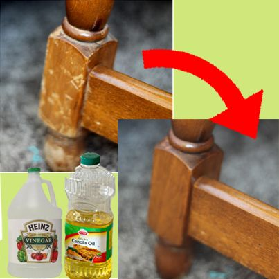 Naturally Repair Wood With Vinegar and Canola Oil. Use 3/4 cup of oil, add 1/4 cup vinegar. white or apple cider vinegar, mix it