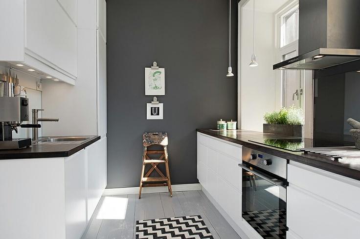 Grey feature wall in a white kitchen DESIGN kitchen