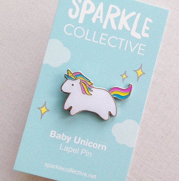 Due to popular demand, Ive decided to turn my baby unicorn into a lapel pin, suitable for all of your