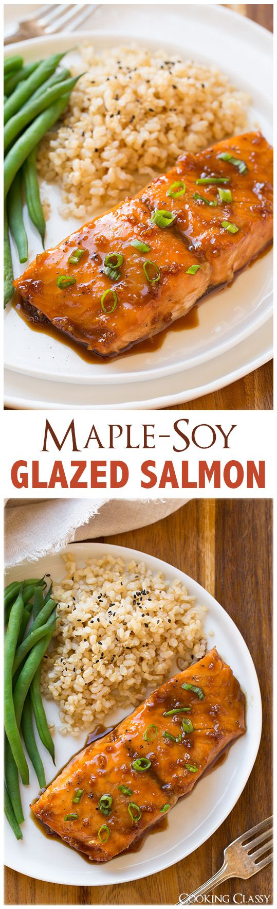 Maple-Soy Glazed Salmon – only FOUR ingredients and it tastes seriously DELICIOUS!!