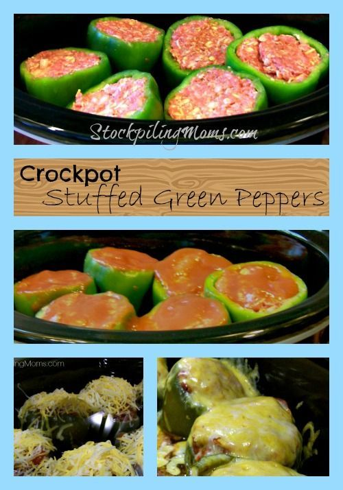 Crockpot Green Stuffed Peppers are amazing! Makes things a bit more easier in the crock pot :).