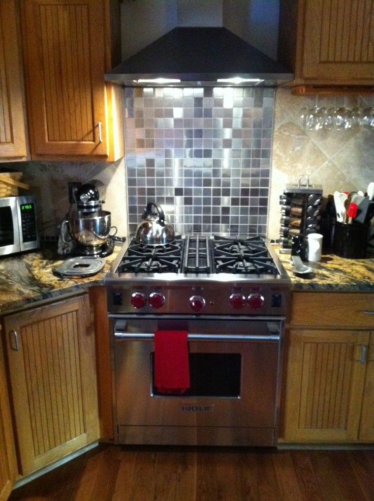 My New Wolf Range With 2x2 Inch Stainless Steel Tile