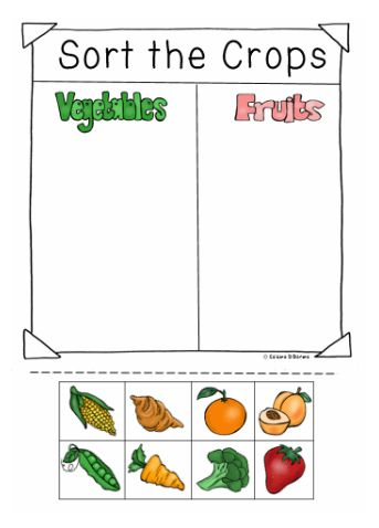 Sort the Crops from a Farm into two groups vegetables or Fruits. This is part of a Community Helpers Unit: We are Farmers. 100