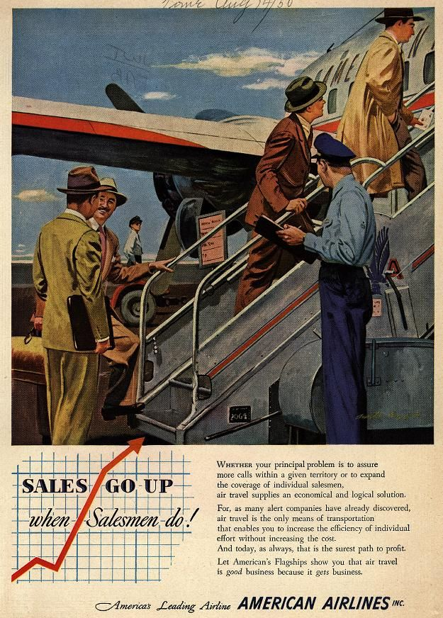 """Sales Go Up when Salesmen do,"" American Airlines 1950's"
