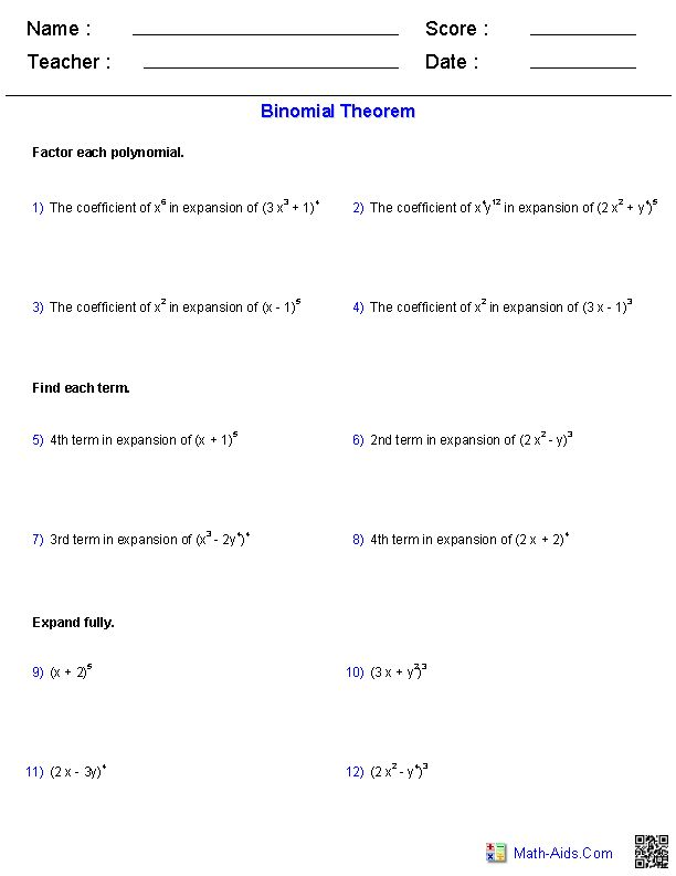 The Binomial Theorem Worksheets