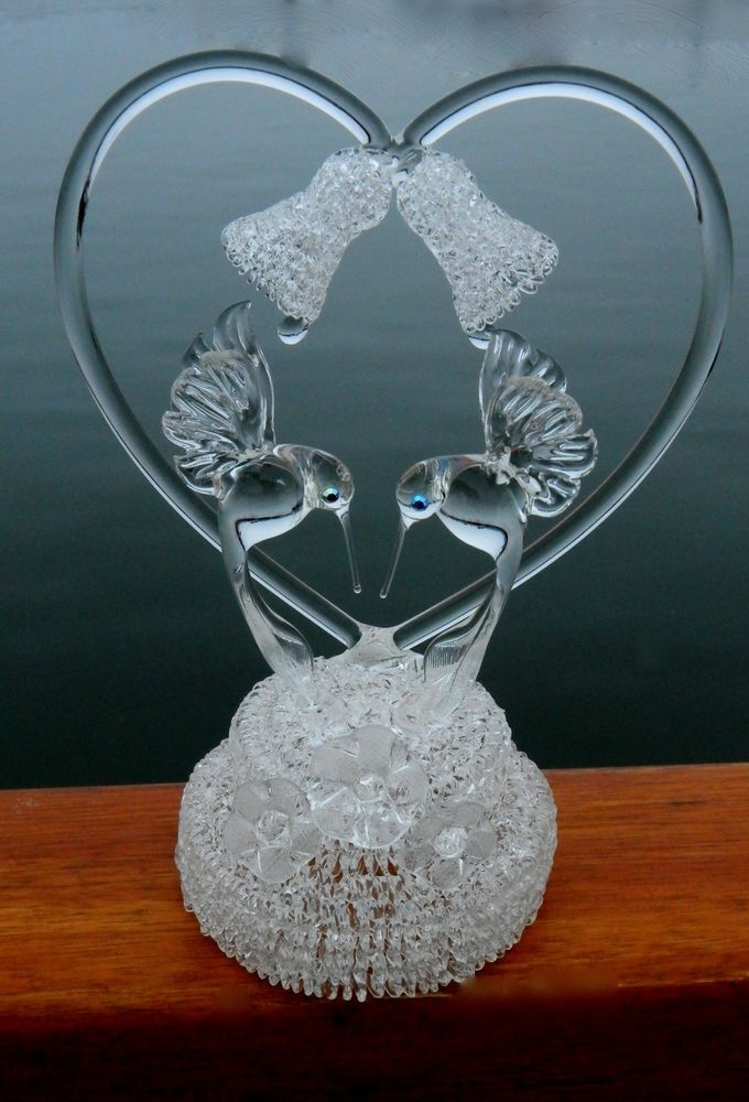 Hummingbird Blown Glass Crystal Wedding Bells And Flowers