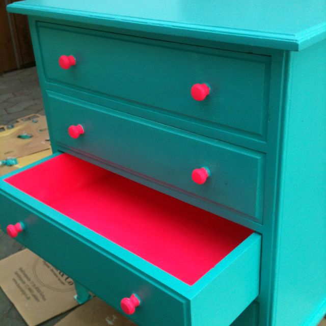Turquoise Dresser With Neon Pink Accents Furniturepainted Furnitureturqoise Furnitureblue