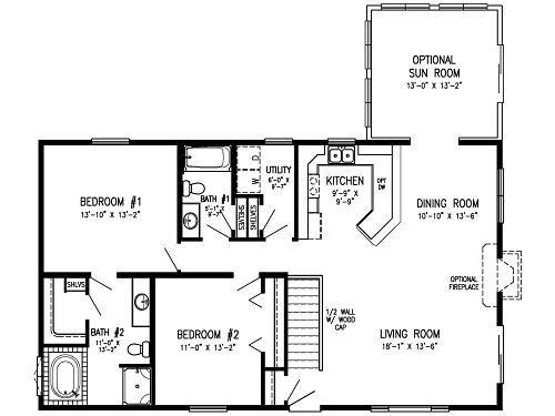 2 Bedroom Modular Floor Plans Concept Main Level Laundry Optional Sun Room Bath Home Homes And Pinterest House