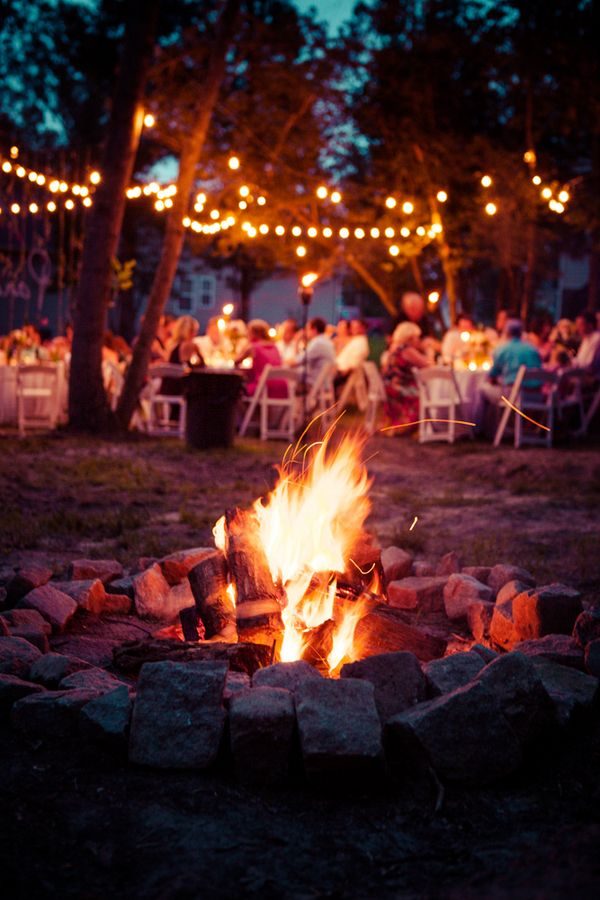 Bonfires at weddings make amazing pictures | Kristen s gorgeous backyard Virginia wedding | Images by What a Lovely Photo