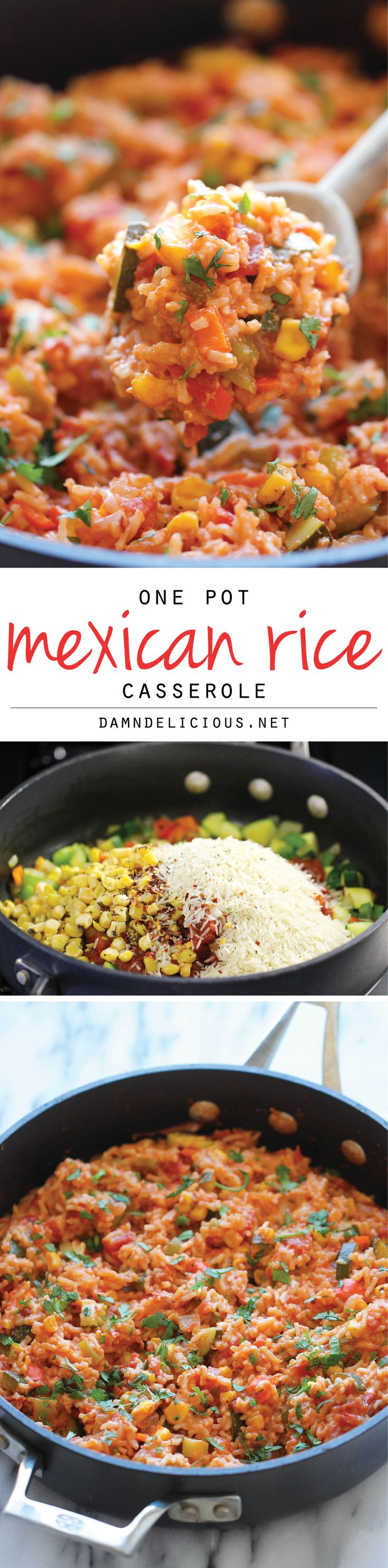 One Pot Mexican Rice Casserole – Good old comfort food made in a single pan – even the rice gets cooked right in the pot!