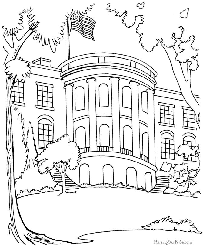 Houses to Color and Print for adults about white house