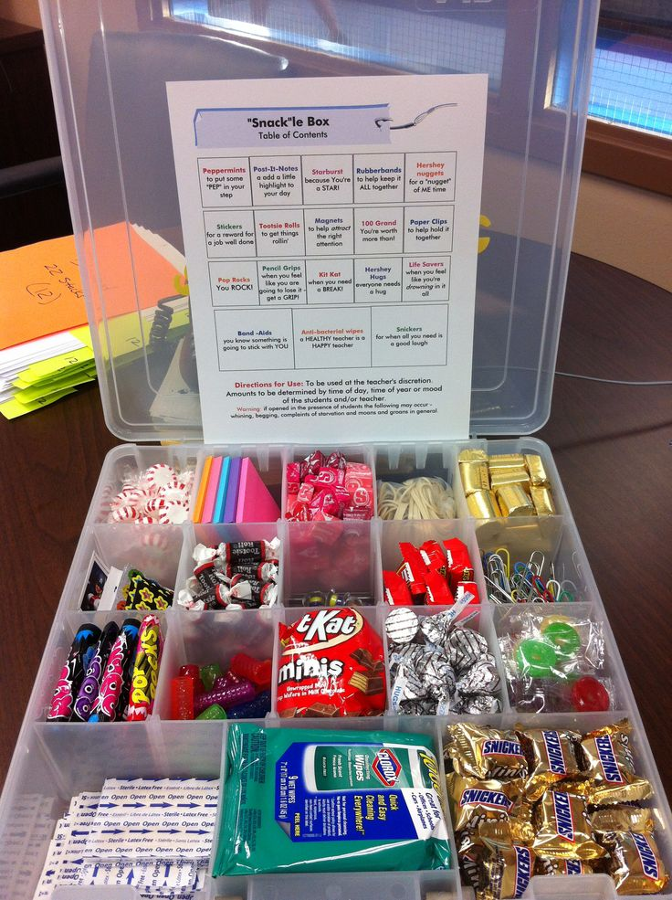 """""""Snack""""le Box snacks and supplies for your teacher (like"""
