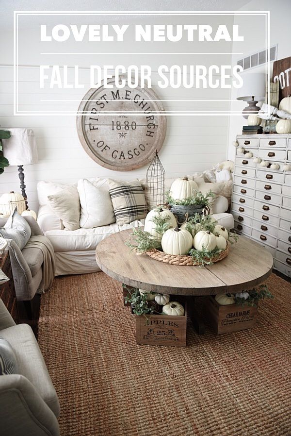 Neutral Fall home decor sources Rustic neutral cottage