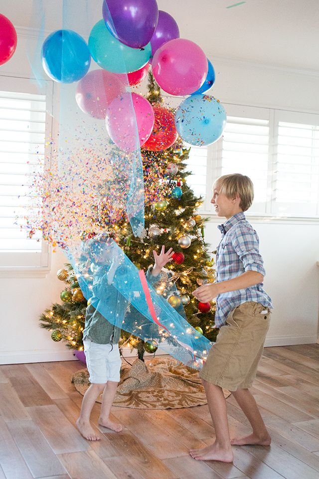 Family New Year's Eve Idea DIY Balloon Drop Next day