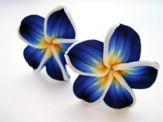 Light Blue And Neon Pink Hawaii Flower CLIP ON Earrings