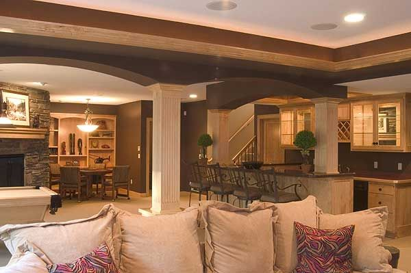 Amazing Finished Basement---adding Character With Boxed In