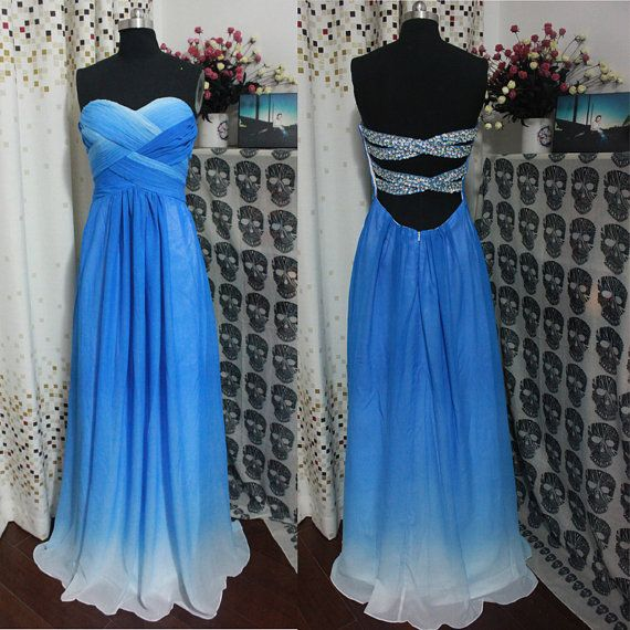 A-line Strapless Royal Blue Ombre Prom Dress,Cheap 2014 Prom Dresses, Long Chiffon Cheap Ombre Evening Dress,Ombre Bridesmaid