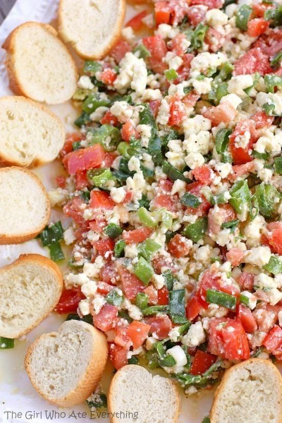 Easy feta dip – olive oil, tomatoes