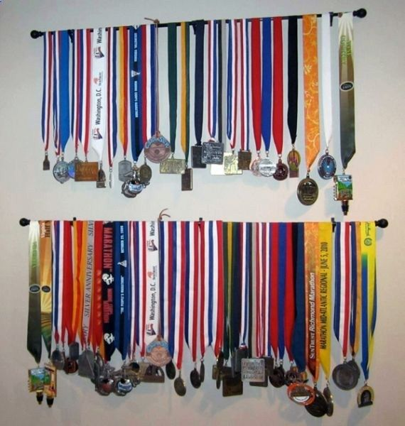 Curtain Rods Display Medals And And Then On Pinterest