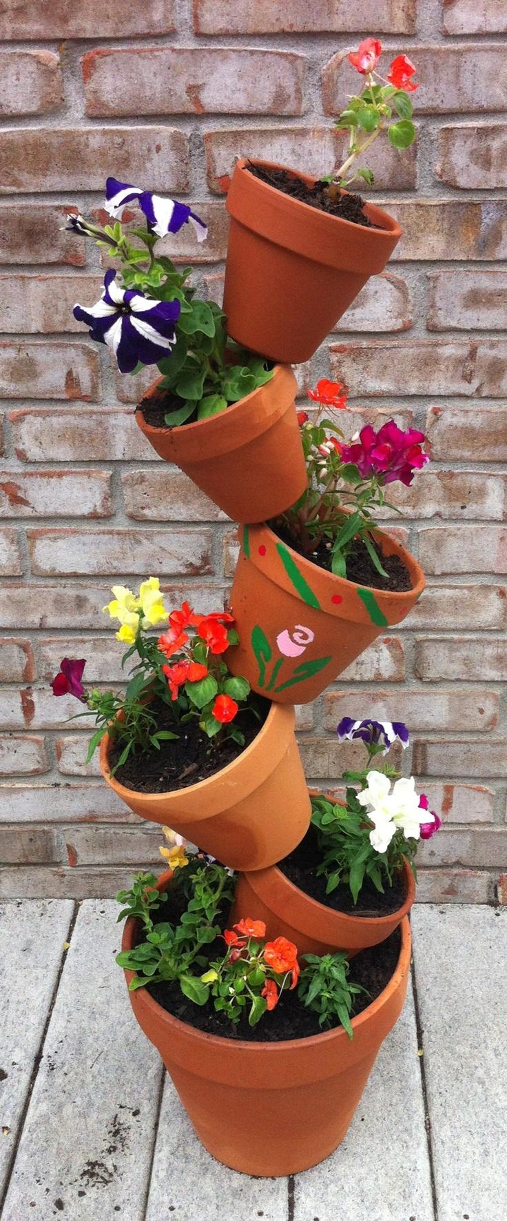 Flower pot tower I made! For the Home Pinterest